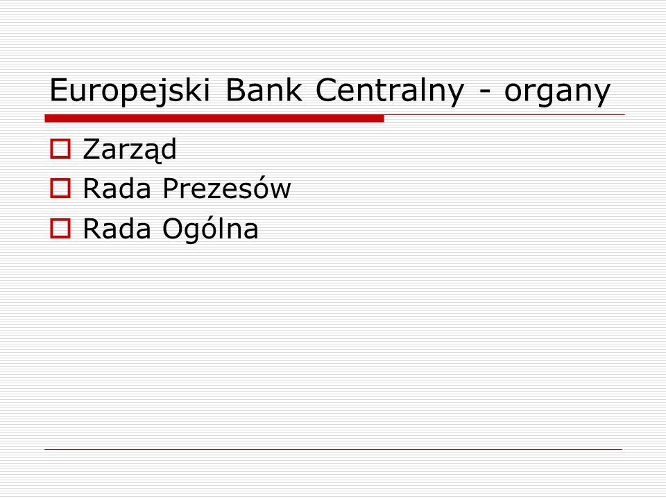 Europejski Bank Centralny - organy Zarząd: prezes + wiceprezes + 4 członków; mandat: 8 lat, nieodnawialny; wybierani za porozumieniem przez rządy państw członkowskich, na zalecenie Rady i po konsultacji z PE oraz z Radą Prezesów EBC spośród osób o uznanym autorytecie i doświadczeniu zawodowym w dziedzinie pieniądza lub bankowości; członka może zdymisjonować ETS na wniosek Rady Prezesów lub Zarządu; zadania: realizuje politykę pieniężną; udziela niezbędnych instrukcji krajowym bankom centralnych.