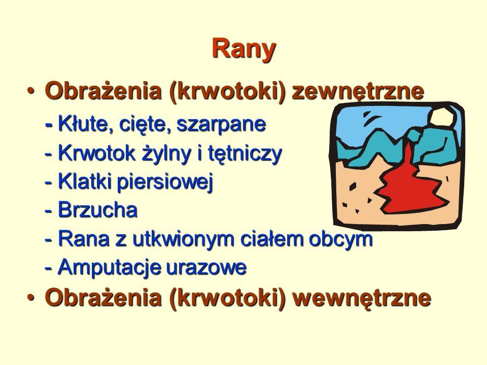 Rany Obrażenia (krwotoki) zewnętrzneObrażenia (krwotoki) zewnętrzne - Kłute, cięte, szarpane - Krwotok żylny i tętniczy - Klatki piersiowej - Brzucha