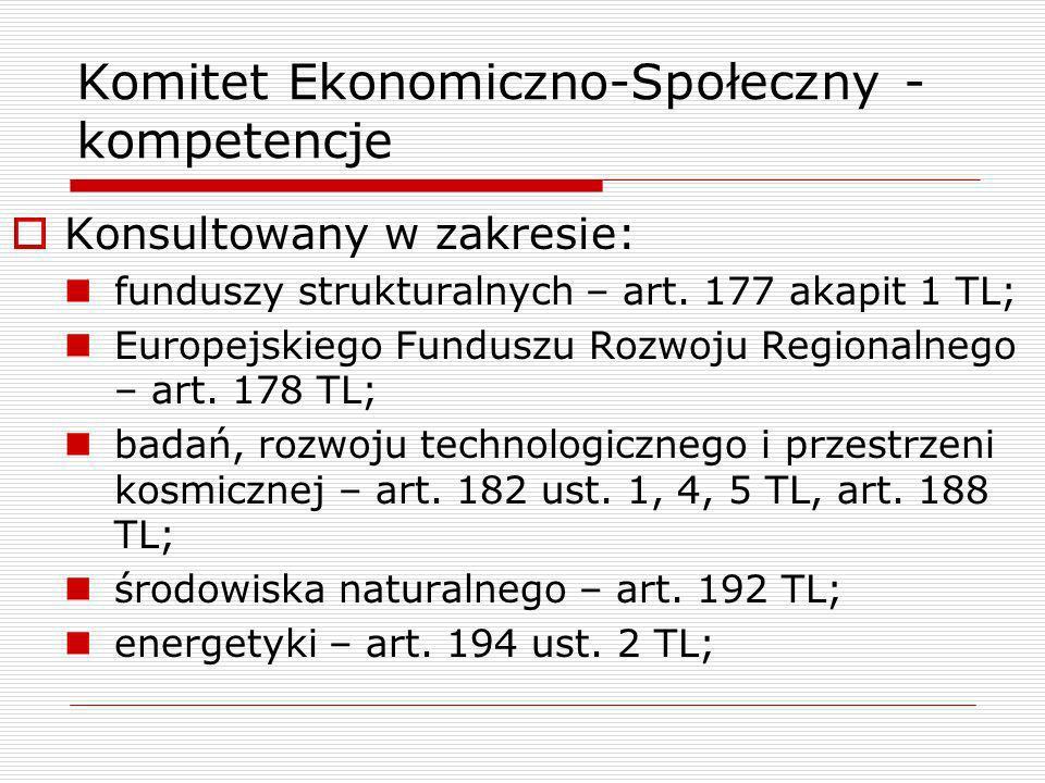 Komitet Ekonomiczno-Społeczny - kompetencje Konsultowany w zakresie: funduszy strukturalnych – art. 177 akapit 1 TL; Europejskiego Funduszu Rozwoju Re