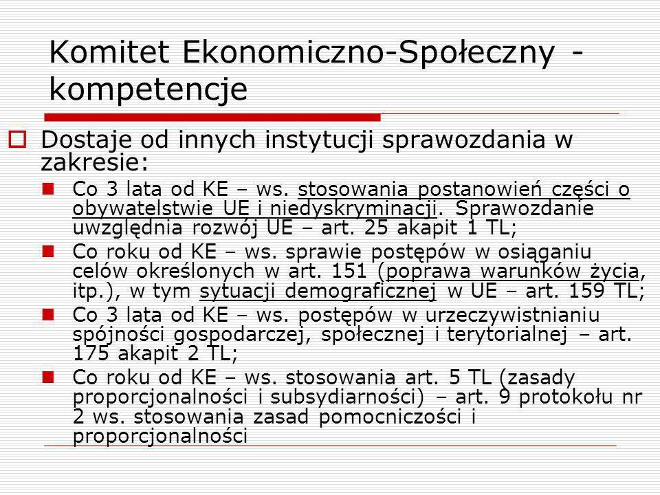Komitet Ekonomiczno-Społeczny - kompetencje Dostaje od innych instytucji sprawozdania w zakresie: Co 3 lata od KE – ws. stosowania postanowień części
