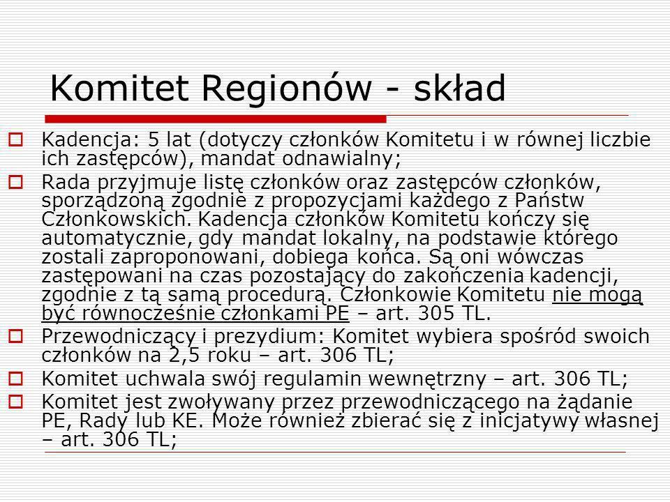 Komitet Regionów - skład Kadencja: 5 lat (dotyczy członków Komitetu i w równej liczbie ich zastępców), mandat odnawialny; Rada przyjmuje listę członkó