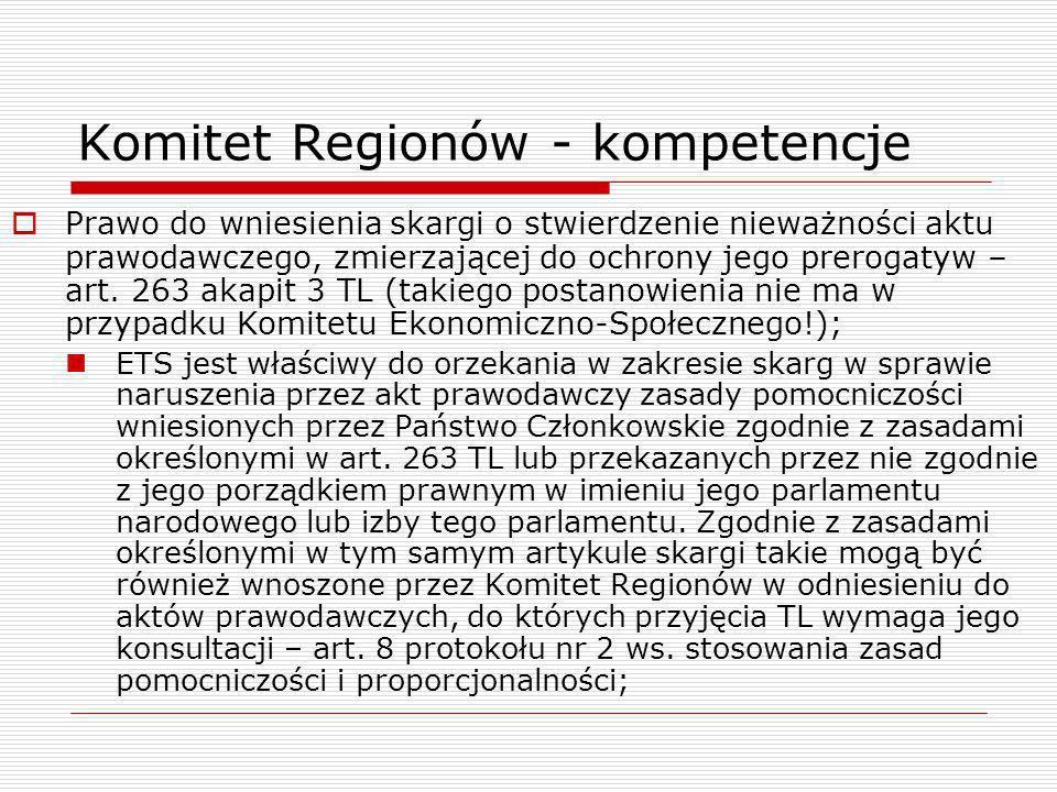Komitet Regionów - kompetencje Prawo do wniesienia skargi o stwierdzenie nieważności aktu prawodawczego, zmierzającej do ochrony jego prerogatyw – art