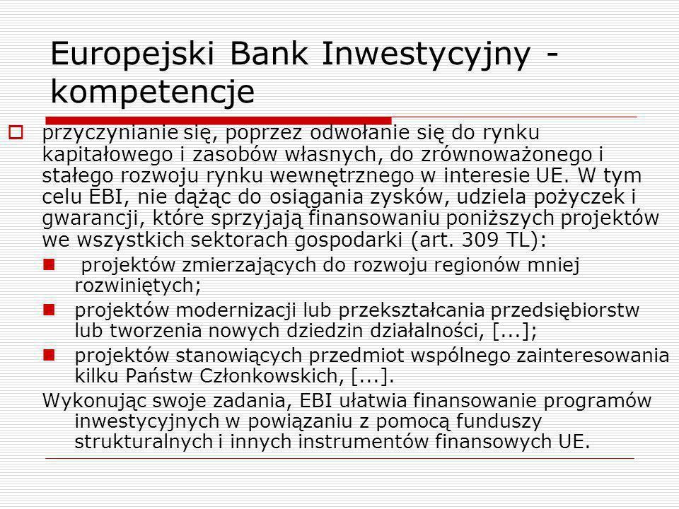 Europejski Bank Inwestycyjny - kompetencje uczestniczy w realizacji spójności gospodarczej, społecznej i terytorialnej – art.