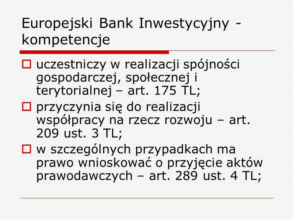 Europejski Bank Inwestycyjny - kompetencje uczestniczy w realizacji spójności gospodarczej, społecznej i terytorialnej – art. 175 TL; przyczynia się d