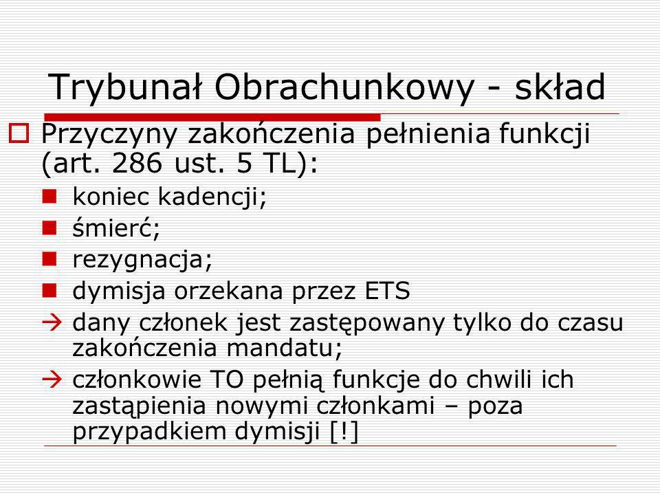 Trybunał Obrachunkowy - skład Dymisja (art.286 ust.