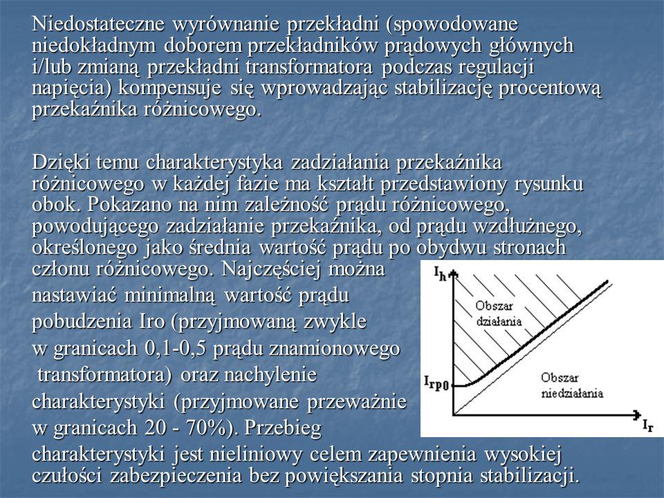 Niedostateczne wyrównanie przekładni (spowodowane niedokładnym doborem przekładników prądowych głównych i/lub zmianą przekładni transformatora podczas