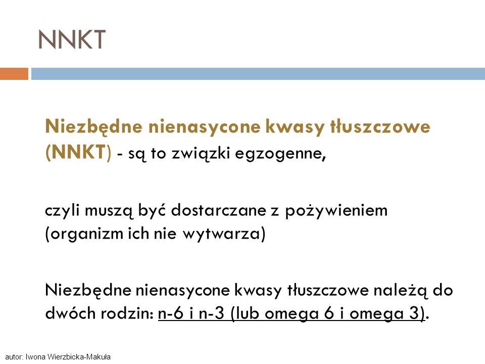 NNKT Niezbędne nienasycone kwasy tłuszczowe (NNKT) - są to związki egzogenne, czyli muszą być dostarczane z pożywieniem (organizm ich nie wytwarza) Ni