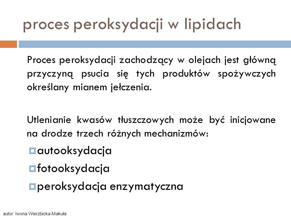 proces peroksydacji w lipidach Proces peroksydacji zachodzący w olejach jest główną przyczyną psucia się tych produktów spożywczych określany mianem j