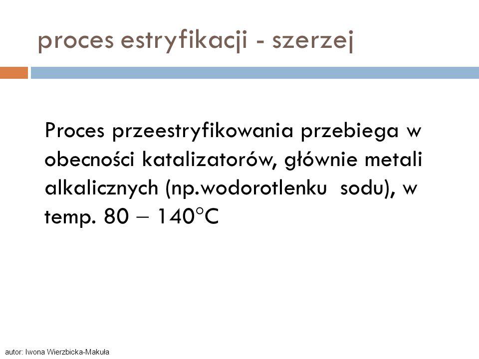 Proces przeestryfikowania przebiega w obecności katalizatorów, głównie metali alkalicznych (np.wodorotlenku sodu), w temp. 80 140 C proces estryfikacj