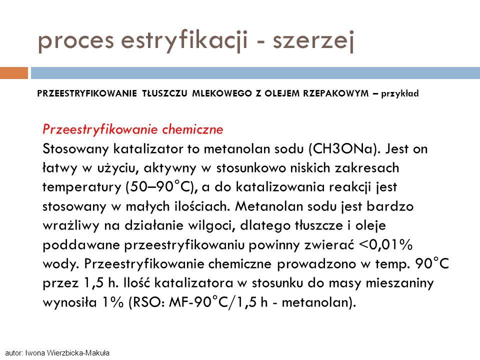 PRZEESTRYFIKOWANIE TŁUSZCZU MLEKOWEGO Z OLEJEM RZEPAKOWYM – przykład Przeestryfikowanie chemiczne Stosowany katalizator to metanolan sodu (CH3ONa). Je