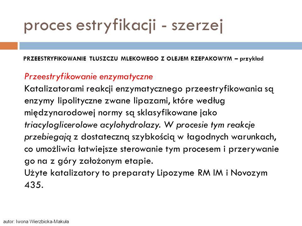 Przeestryfikowanie enzymatyczne Katalizatorami reakcji enzymatycznego przeestryfikowania są enzymy lipolityczne zwane lipazami, które według międzynar