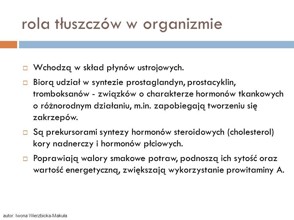 rola tłuszczów w organizmie Wchodzą w skład płynów ustrojowych. Biorą udział w syntezie prostaglandyn, prostacyklin, tromboksanów - związków o charakt