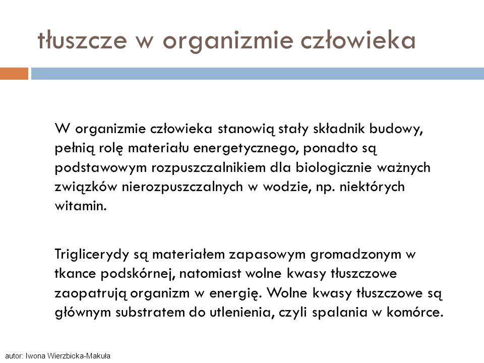 kwasy tłuszczowe Do kwasów tłuszczowych zalicza się kwasy organiczne, prawie wyłącznie o prostych łańcuchach, monokarboksylowe, czyli z jedną grupą COOH.