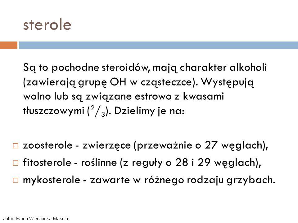 sterole Są to pochodne steroidów, mają charakter alkoholi (zawierają grupę OH w cząsteczce). Występują wolno lub są związane estrowo z kwasami tłuszcz