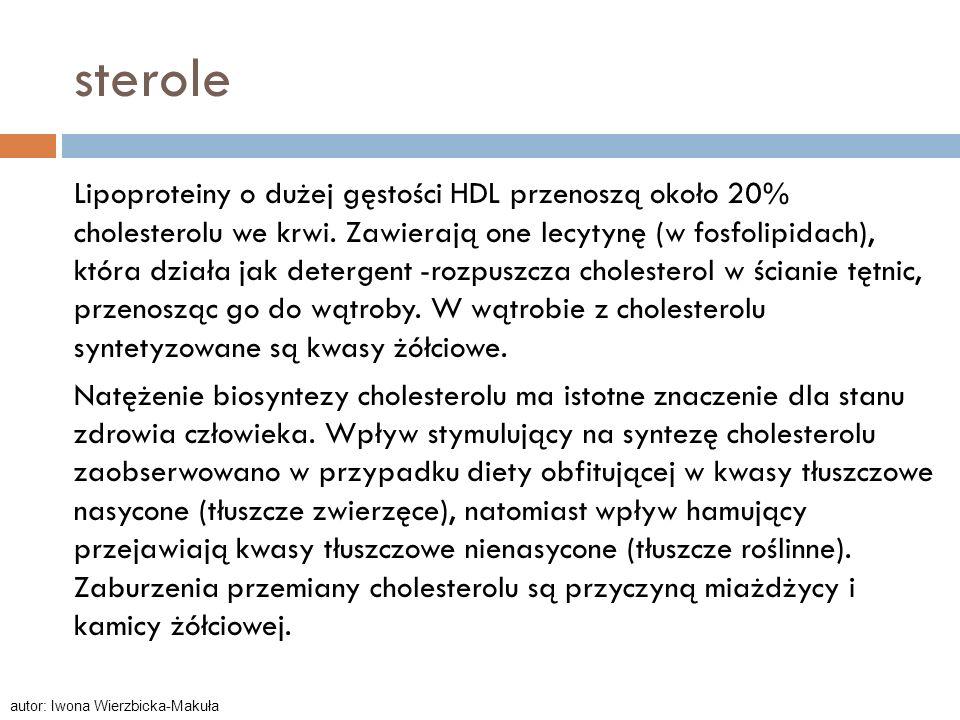 sterole Lipoproteiny o dużej gęstości HDL przenoszą około 20% cholesterolu we krwi. Zawierają one lecytynę (w fosfolipidach), która działa jak deterge