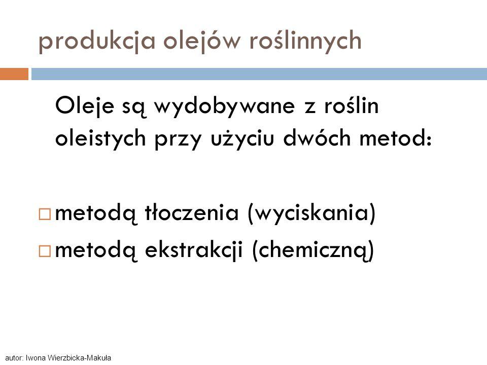 produkcja olejów roślinnych Oleje są wydobywane z roślin oleistych przy użyciu dwóch metod: metodą tłoczenia (wyciskania) metodą ekstrakcji (chemiczną