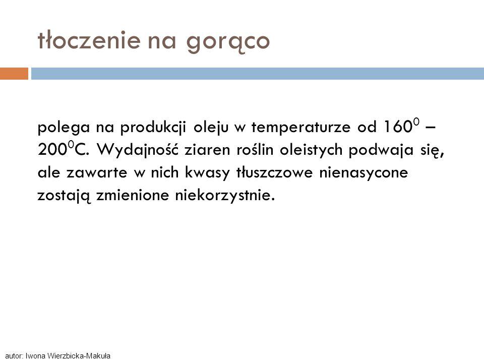 tłoczenie na gorąco polega na produkcji oleju w temperaturze od 160 0 – 200 0 C. Wydajność ziaren roślin oleistych podwaja się, ale zawarte w nich kwa