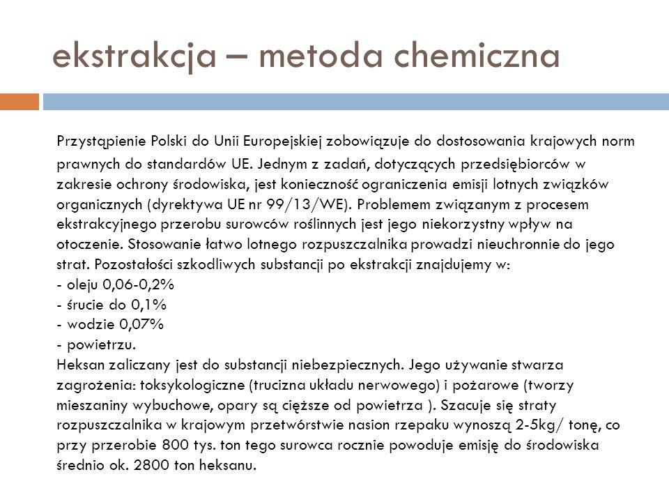 ekstrakcja – metoda chemiczna Przystąpienie Polski do Unii Europejskiej zobowiązuje do dostosowania krajowych norm prawnych do standardów UE. Jednym z