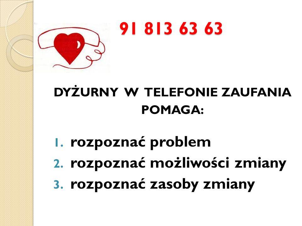 91 813 63 63 DYŻURNY W TELEFONIE ZAUFANIA POMAGA: 1. rozpoznać problem 2. rozpoznać możliwości zmiany 3. rozpoznać zasoby zmiany