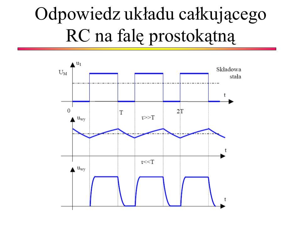 Odpowiedz układu całkującego RC na falę prostokątną