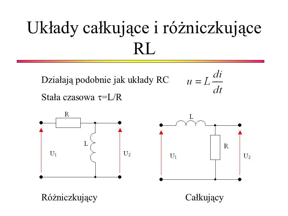 Układy całkujące i różniczkujące RL Działają podobnie jak układy RC Stała czasowa =L/R RóżniczkującyCałkujący
