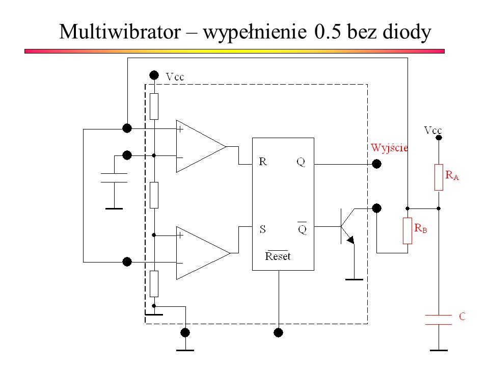Multiwibrator – wypełnienie 0.5 bez diody