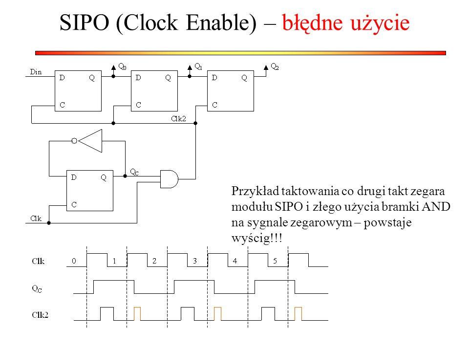 SIPO (Clock Enable) – błędne użycie Przykład taktowania co drugi takt zegara modułu SIPO i złego użycia bramki AND na sygnale zegarowym – powstaje wyś