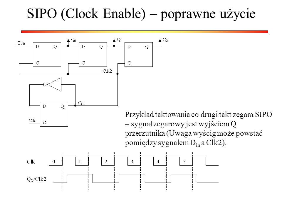 SIPO (Clock Enable) – poprawne użycie Przykład taktowania co drugi takt zegara SIPO – sygnał zegarowy jest wyjściem Q przerzutnika (Uwaga wyścig może