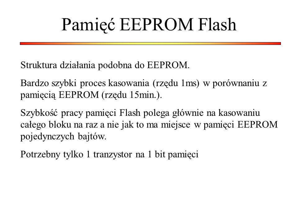 Pamięć EEPROM Flash Struktura działania podobna do EEPROM. Bardzo szybki proces kasowania (rzędu 1ms) w porównaniu z pamięcią EEPROM (rzędu 15min.). S