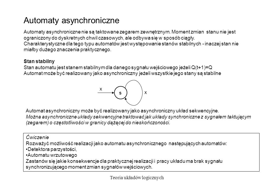 Teoria układów logicznych Automaty asynchroniczne s x x Automaty asynchroniczne nie są taktowane zegarem zewnętrznym. Moment zmian stanu nie jest ogra