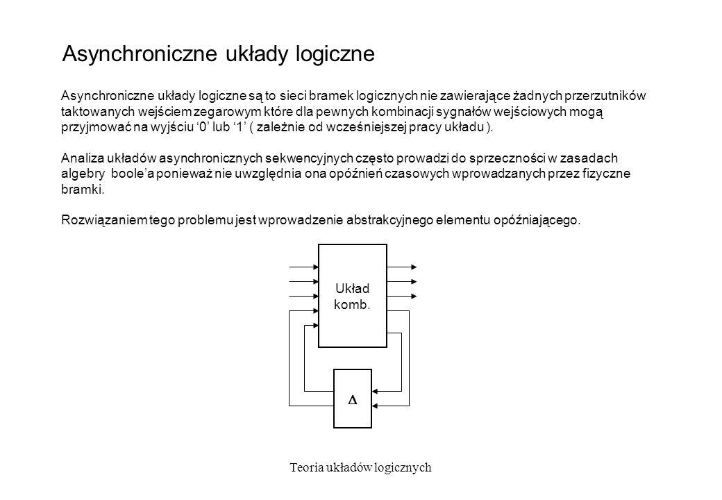 Teoria układów logicznych Asynchroniczne układy logiczne Asynchroniczne układy logiczne są to sieci bramek logicznych nie zawierające żadnych przerzut