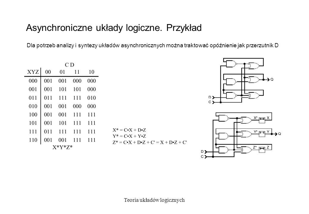 Teoria układów logicznych Asynchroniczne układy logiczne. Przykład Dla potrzeb analizy i syntezy układów asynchronicznych można traktować opóźnienie j