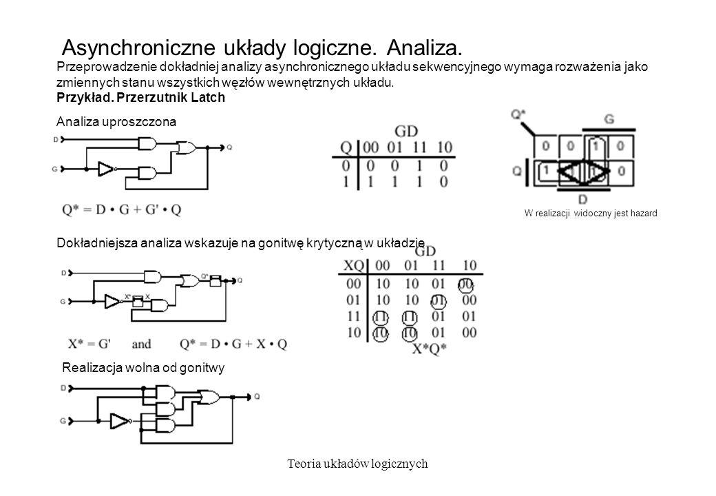 Teoria układów logicznych Asynchroniczne układy logiczne. Analiza. Przeprowadzenie dokładniej analizy asynchronicznego układu sekwencyjnego wymaga roz