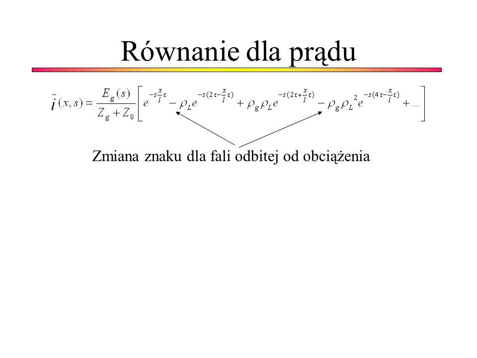 Równanie dla prądu Zmiana znaku dla fali odbitej od obciążenia