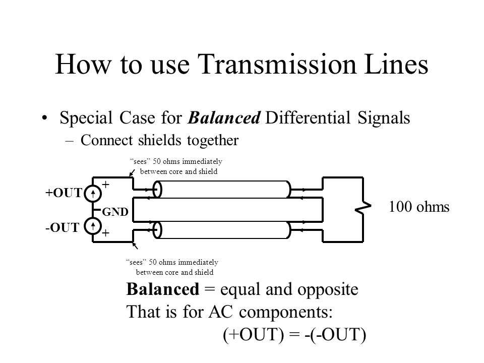 How to use Transmission Lines Special Case for Balanced Differential Signals –Connect shields together Balanced = equal and opposite That is for AC co