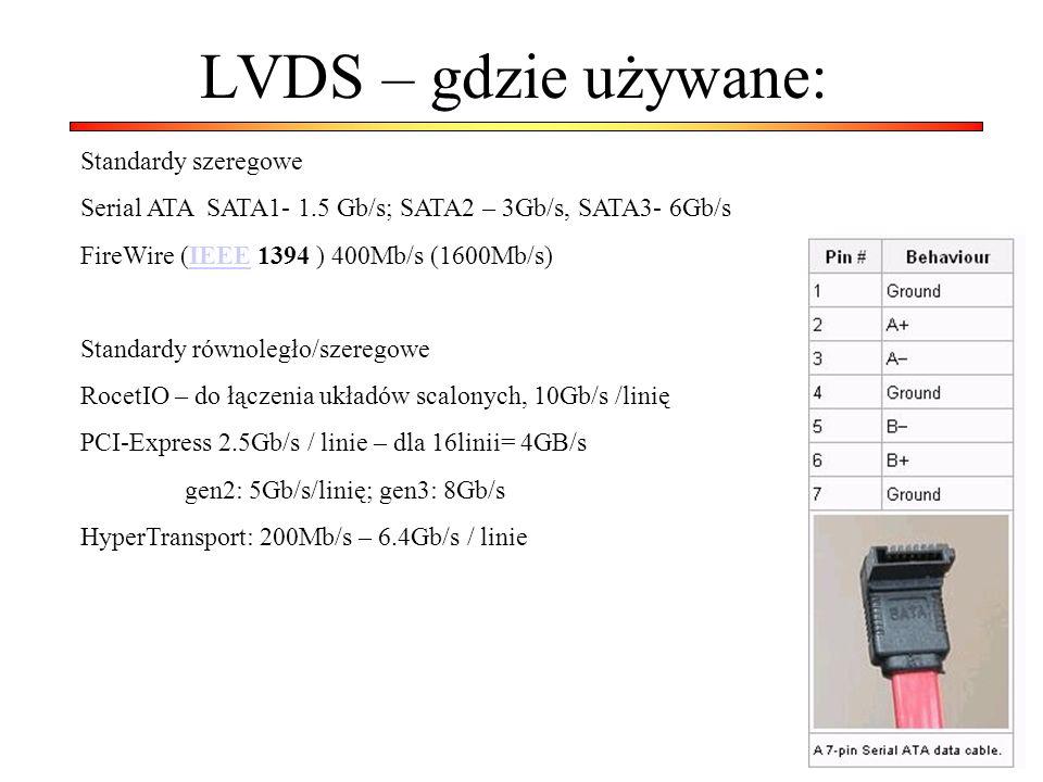 LVDS – gdzie używane: Standardy szeregowe Serial ATA SATA1- 1.5 Gb/s; SATA2 – 3Gb/s, SATA3- 6Gb/s FireWire (IEEE 1394 ) 400Mb/s (1600Mb/s)IEEE Standar