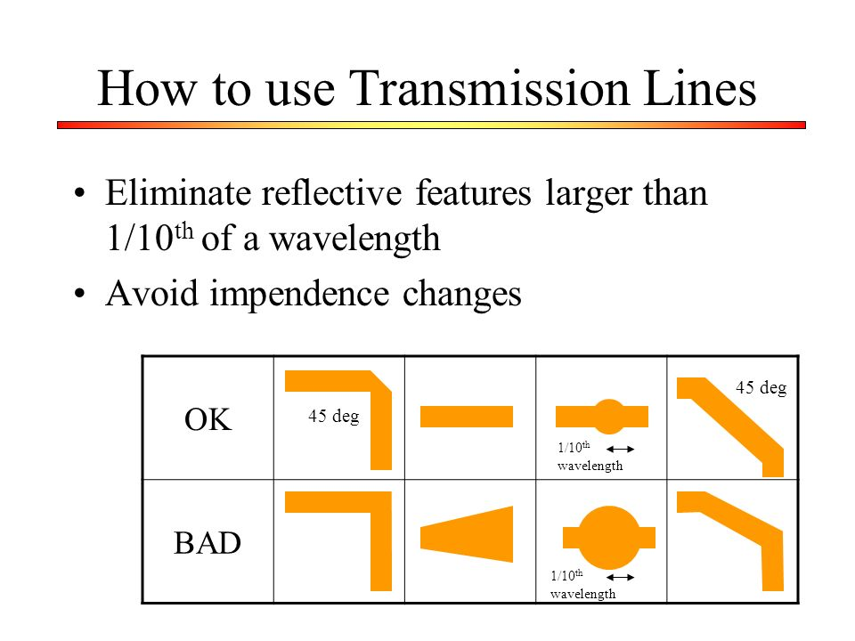 How to use Transmission Lines Eliminate reflective features larger than 1/10 th of a wavelength Avoid impendence changes OK BAD 1/10 th wavelength 45