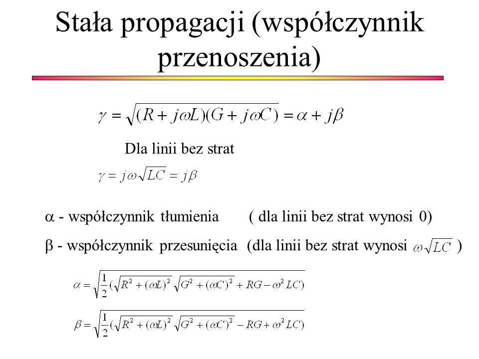 Stała propagacji (współczynnik przenoszenia) Dla linii bez strat - współczynnik tłumienia ( dla linii bez strat wynosi 0) - współczynnik przesunięcia