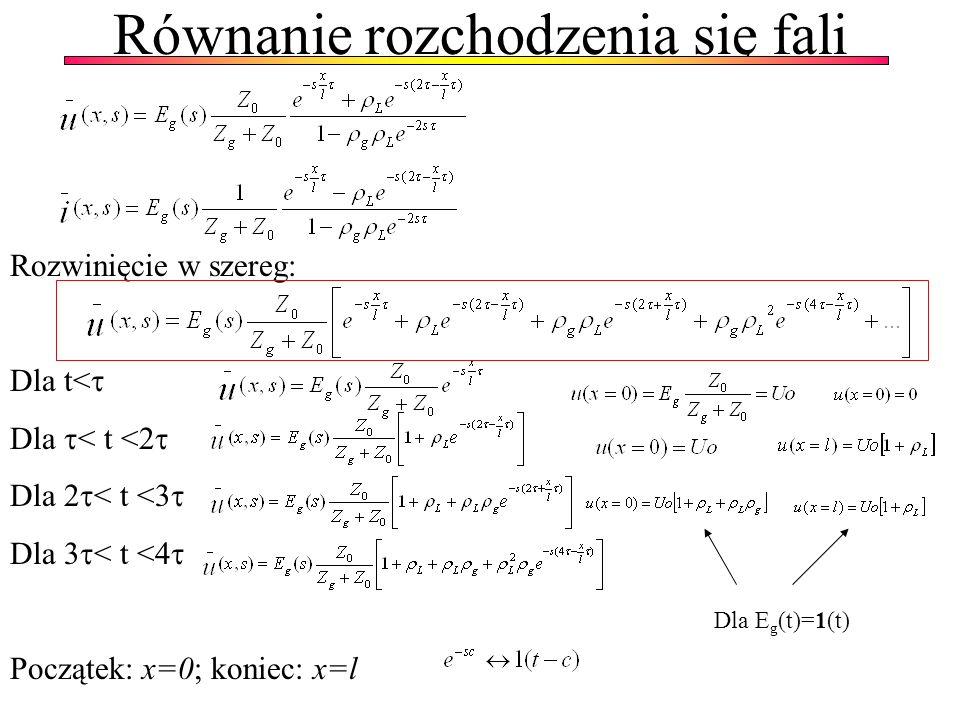 Równanie rozchodzenia się fali Rozwinięcie w szereg: Dla t< Dla < t <2 Dla 2 < t <3 Dla 3 < t <4 Początek: x=0; koniec: x=l Dla E g (t)=1(t)