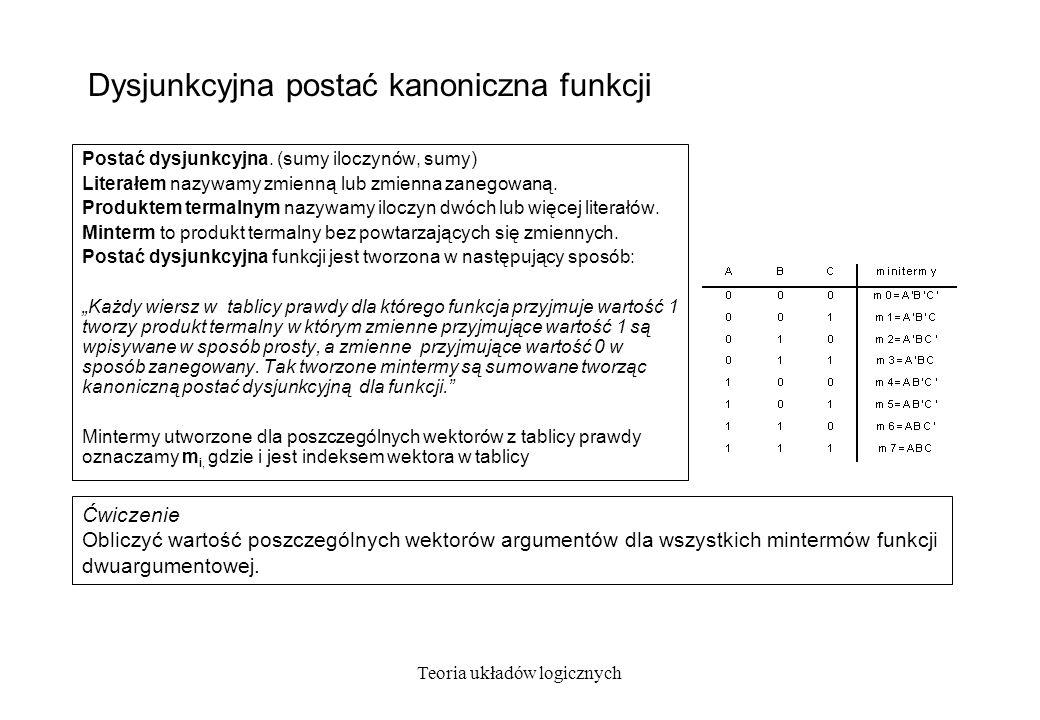 Teoria układów logicznych Koniunkcyjna postać kanoniczna funkcji Postać koniunkcyjna.