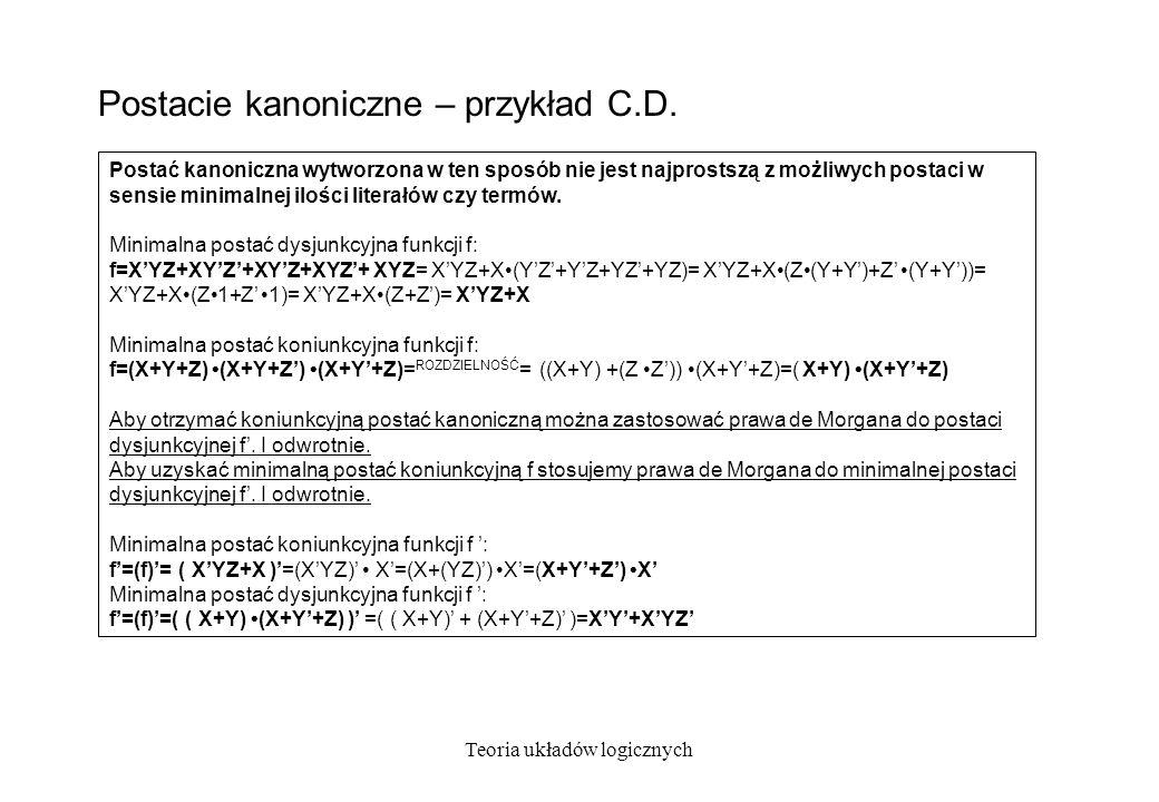 Teoria układów logicznych Postać kanoniczna sumy wyłączającej Postać kanoniczna sumy wyłączającej ( EXOR ) funkcji przyjmuje postać: f(x 1, x 2, x 3,..., x n ) = x 1 x 2 x 1 x 2 x 1 x 2...