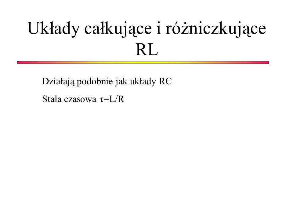 Układy całkujące i różniczkujące RL Działają podobnie jak układy RC Stała czasowa =L/R