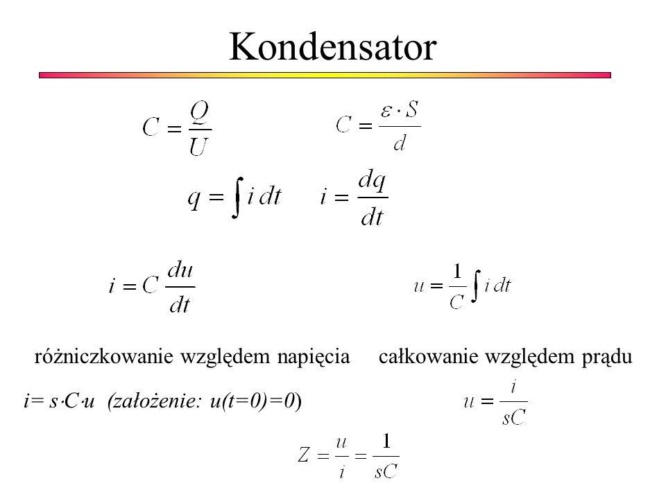 Kondensator różniczkowanie względem napięcia całkowanie względem prądu i= s C u (założenie: u(t=0)=0)