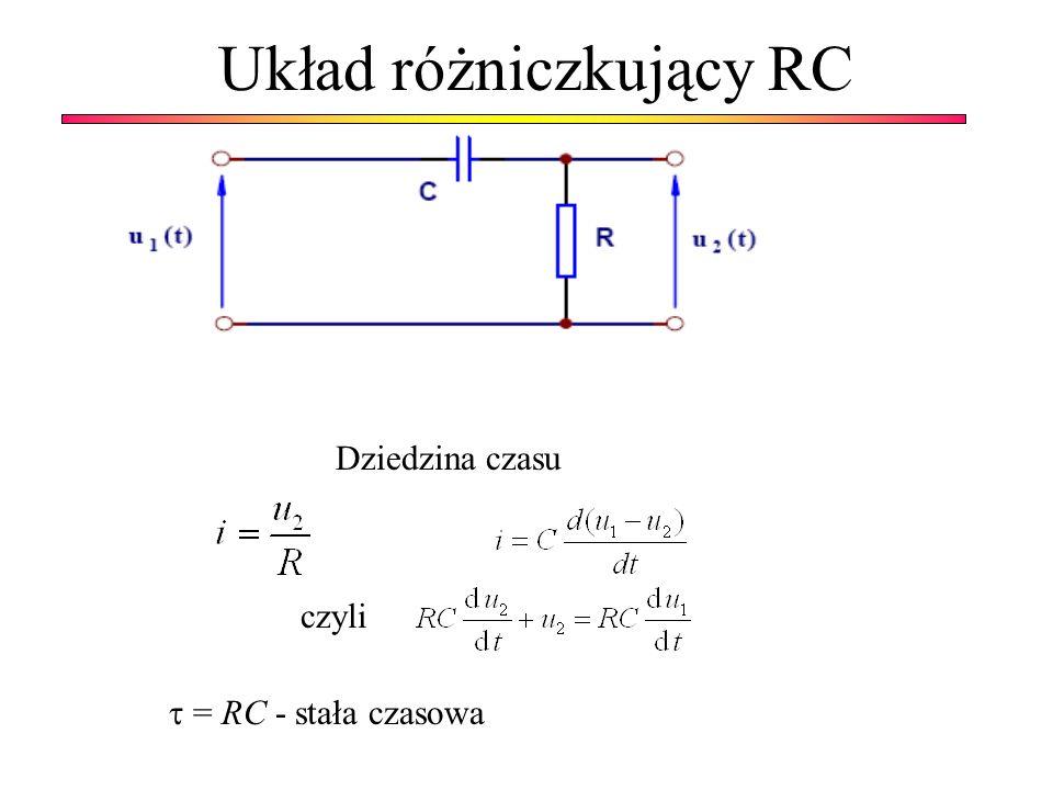 Układ różniczkujący RC Dziedzina czasu czyli = RC - stała czasowa