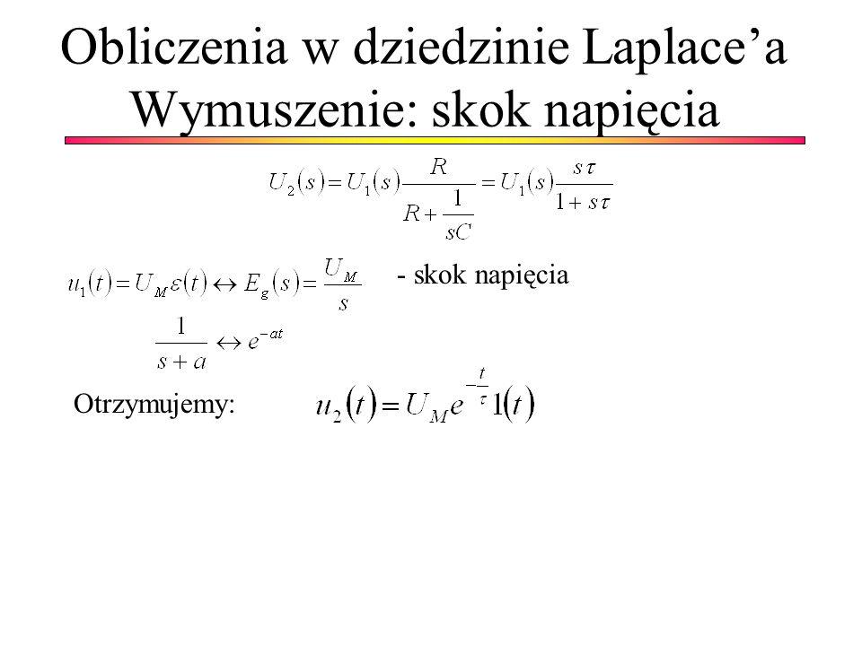 Obliczenia w dziedzinie Laplacea Wymuszenie: skok napięcia Otrzymujemy: - skok napięcia