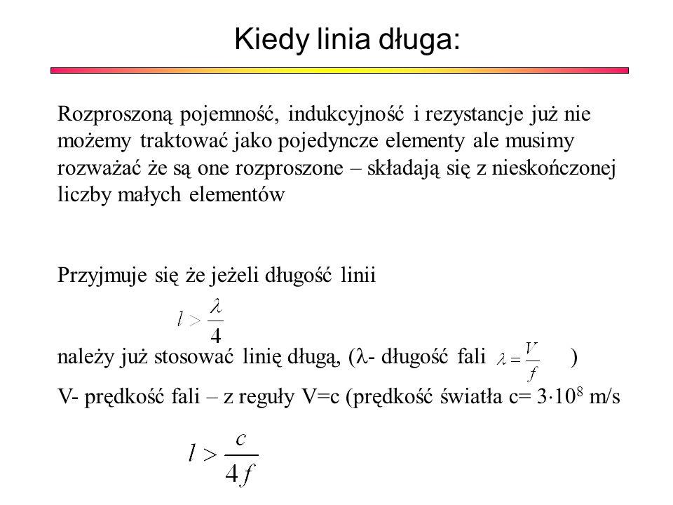 Elementy rozproszone Dla linii bezstratnej pomija się R i G R – rezystancja na jednostk ę d ł ugo ś ci linii [Ω/m] – reprezentuj ą ca wszelkie straty cieplne w obu przewodach linii L – indukcyjno ść na jednostk ę d ł ugo ś ci linii [H/m]– reprezentuj ą ca pole magnetyczne obu przewodów linii C – pojemno ść na jednostk ę d ł ugo ś ci linii [F/m]– reprezentuj ą ca pole elektryczne w dielektryku mi ę dzy przewodami linii G – up ł ywno ść na jednostk ę d ł ugo ś ci linii G [S/m] – reprezentuj ą ca ewentualne straty cieplne w dielektryku.