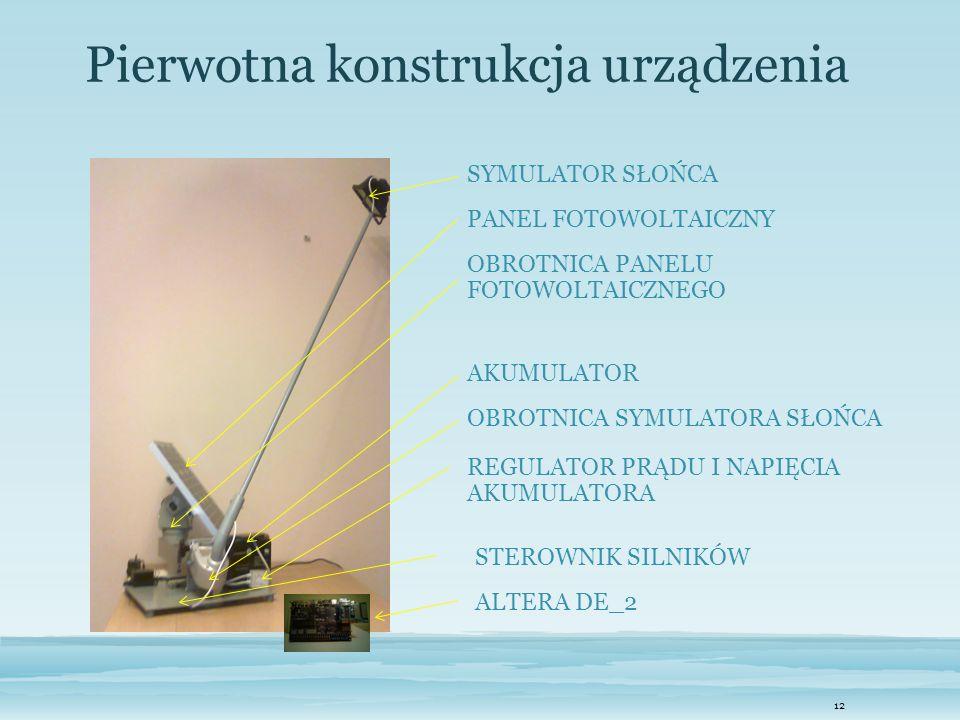 12 Pierwotna konstrukcja urządzenia SYMULATOR SŁOŃCA PANEL FOTOWOLTAICZNY OBROTNICA PANELU FOTOWOLTAICZNEGO AKUMULATOR OBROTNICA SYMULATORA SŁOŃCA REG