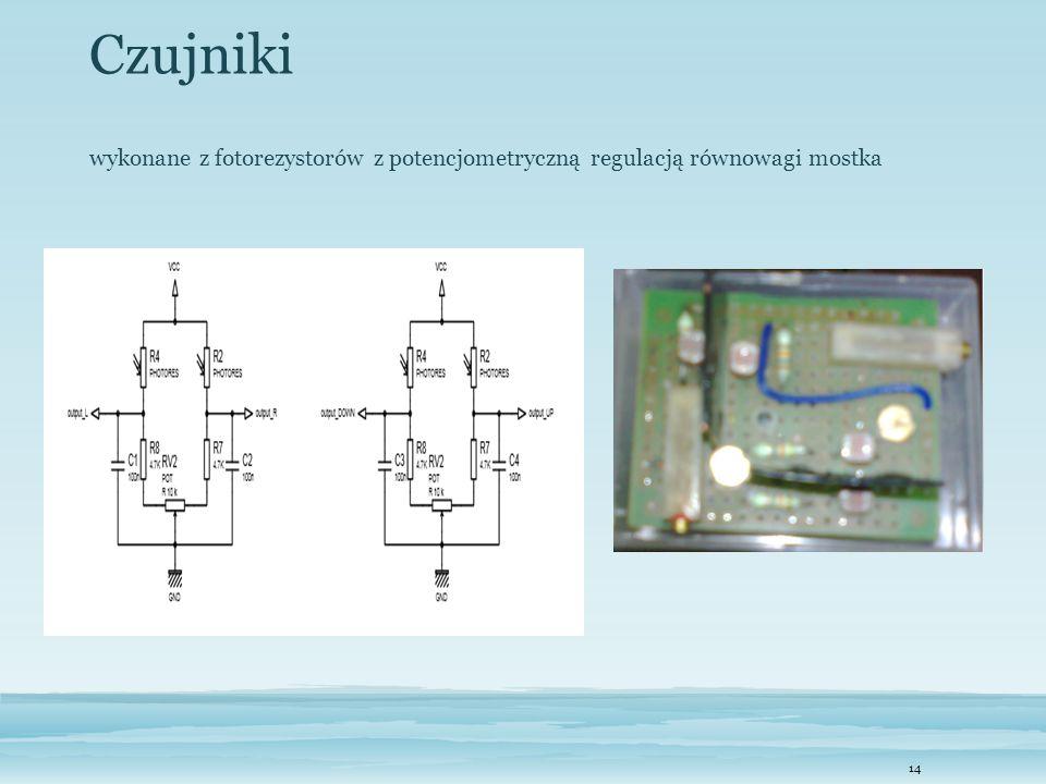 14 Czujniki wykonane z fotorezystorów z potencjometryczną regulacją równowagi mostka