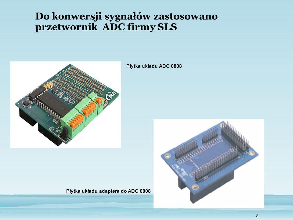 8 Do konwersji sygnałów zastosowano przetwornik ADC firmy SLS Płytka układu adaptera do ADC 0808 Płytka układu ADC 0808