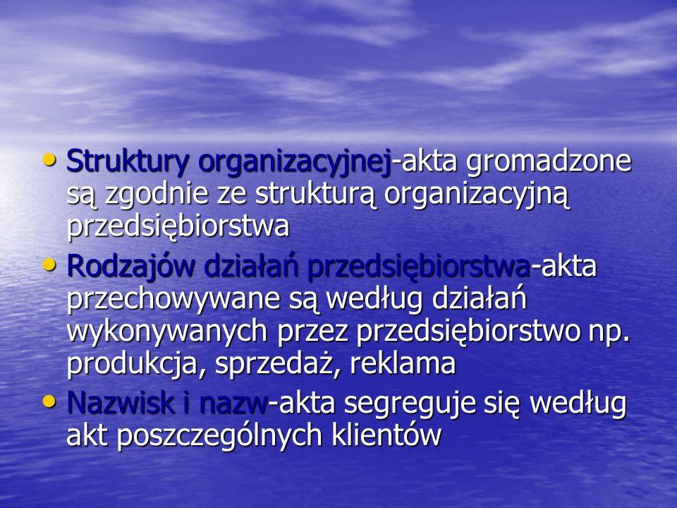 Struktury organizacyjnej-akta gromadzone są zgodnie ze strukturą organizacyjną przedsiębiorstwa Struktury organizacyjnej-akta gromadzone są zgodnie ze